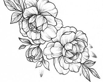 Botanical flowers A5 drawing Inktober