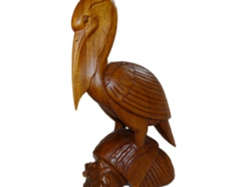 Pelican Wood Sculpture, Hand Carved