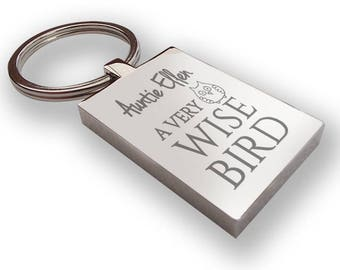Personalised engraved AUNTIE AUNT aunty keyring gift idea, Wise bird - owl design, heart cut out - WS4