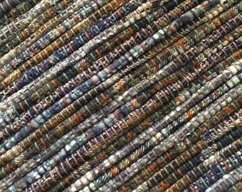 "Hand Woven Rag Rug - Blue White  Brown Cotton Flannel 27"" x 52"""