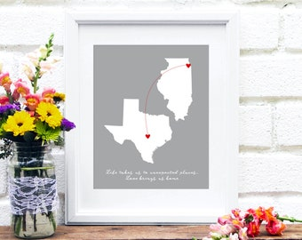 Mothers Day Gift Long Distance Family Map, Two States, Miss You Gift for Mom, Send Mother's Day Gift, Mom Quote, Gift for Her Close at Heart