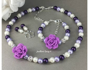 Purple Wedding Flower Girl Jewelry Set Gift for Her Flower Girl Necklace Gift Shades of Purple Jewelry Flower Bracelet Ivory Pearl Necklace