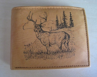 """Mankind Wallets Men's Leather RFID Blocking Billfold w/ """"Large Buck/Deer Hunting"""" Image~Makes a Great Gift!"""