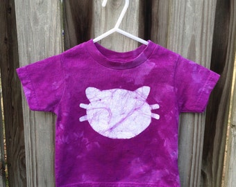 Kids Cat Shirt (2T), Purple Cat Shirt, Boys Cat Shirt, Girls Cat Shirt, Kids Kitten Shirt, Toddler Cat Shirt, Batik Cat Shirt, Kids Batik