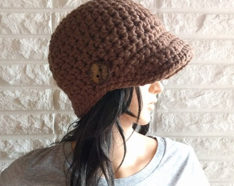 Women's brown newsboy hat, women's brown skater hat, brimmed winter hat, accessories, gifts for her, fall, winter and spring fashion