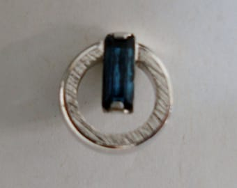 TIE PIN, FAKE sapphire and silvertone metal, condition is like new.