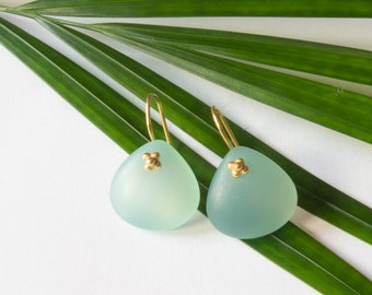 Matte green chalcedony and gold plated Silver earrings