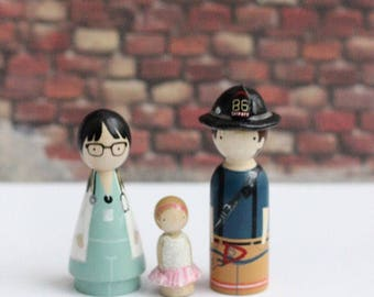 Fireman Doctor Wedding Cake Toppers with Child or Pet // Peg Dolls Custom Wedding Cake Topper // Custom Family Portrait // Wooden Dolls