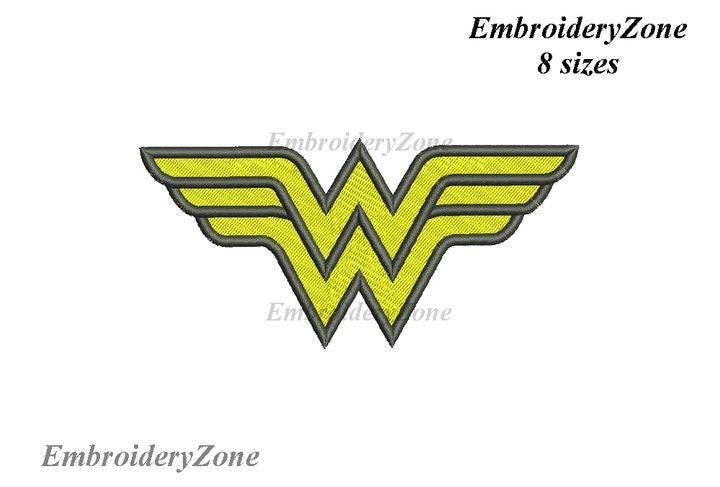 designs logo wonder woman machine embroidery design filled