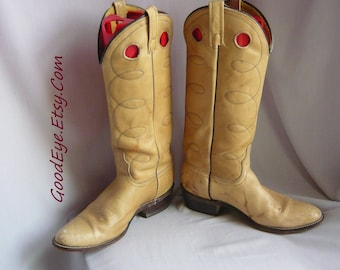 Vintage Western Port Hole Boots / Ladies size 9 .5 n  Eu 41 UK 7 /  ACME Rope Stitched Leather  / Mens Cowboy Boot sz 8 C / USA 1980s