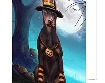 Happy Halloween Trick or Treat Doberman Dog Candy Corn Set of 10 Greeting Cards