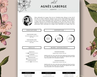 Charmant Resume Template | Feminine Resume And FREE Cover Letter Template | Creative  Resume With Photo |