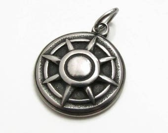 Nautical Ship Wheel Charm, Stainless Steel Charm, Jewelry Pendant, SST Findings 19mm, Set of 3,  Ship Wheel Pendant, Stainless Steel Pendant
