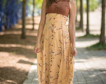 Vintage Tan Empire Waist Floral Print Sleeveless Dress (Size Small)