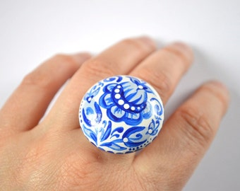 Ring with flowers Jewelry white blue ring unique rings cute rings women birthday gifts Nature jewelry Floral Ring romantic ring mom gifts