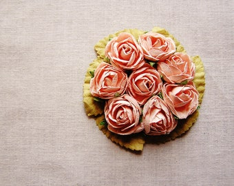 Blush Pink miniature rose corsage handmade millinery bouquet embellishment