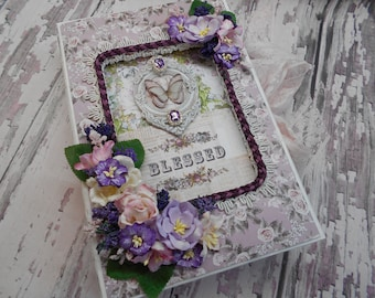 Prima Lavender Blessed  Journal in a Matching Altered Box