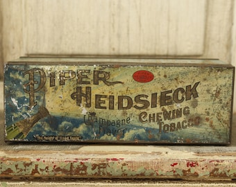 Antique Chewing Tobacco Tin, Vintage Piper Heidsieck Tin, Collectible Tobacciano, Vintage 1910 Tin Metal Box, Hinged Metal Tin, 100 yrs. Old