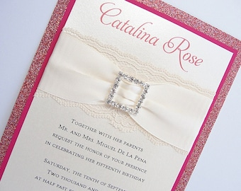 Wedding Invitations, Wedding Invite, Lace Wedding Invitation, Glitter Invite, Sweet 16 Invitations, Quinceanera Invite, COCO-QUINCE PINK