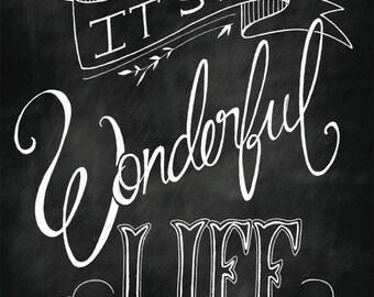 ON SALE** It's a Wonderful Life 8x10 print- christmas - holiday - chalk art - black & white