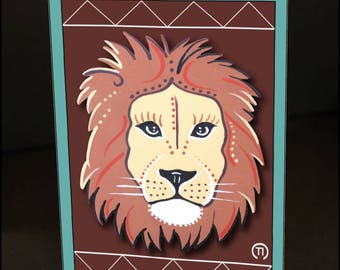 """Lion Face 4.25"""" x 6"""" Blank Greeting Card"""