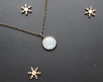 Vintage, retro, glass cabochon necklace, bronze