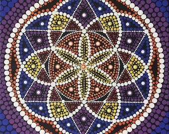 Dot Mandala, Mandala Painting, Wall Art, Boho,  Mandala Art, Unique Gift, Spiritual Painting, Sacred Geometry, Seed of Life