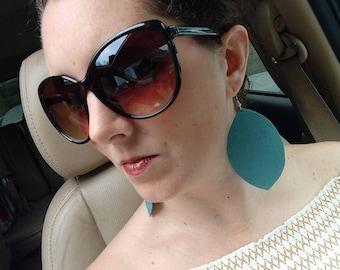 Aquamarine Suede Earrings
