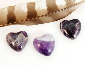 AMETHYST Heart Stones | Amethyst Crystal Heart | Recovery Gift, Wedding Favor, Remembrance Gift | Chakra Energy Healing Stones