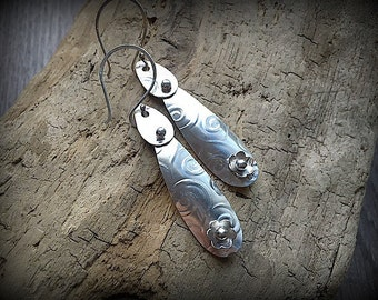 Swirl Patterned Sterling Silver Flower Earrings