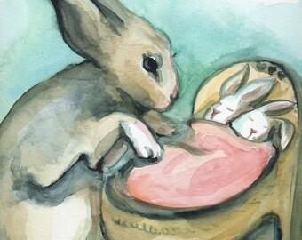 "Nursey art PRINT - Nursery art - Nursery decor - Kids room decor - Children's art - Children's wall art - ""New Mama"""