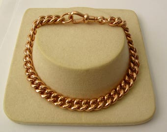 Genuine SOLID 9K 9ct ROSE GOLD Albert Curb Bracelet with Swivel Clasp 19.5 cm
