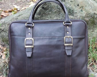 Genuine Vaquetta Brown Leather Overnight Bag, Laptop Bag, Hand crafted in Colombia
