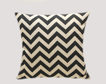 """Decorative Pillow case, Grey Off White Cotton Throw pillow case with Zigzag motif, fits 18"""" x 1 8"""" insert, Toss pillow case, Cushion case."""