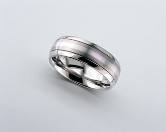 Platinum Wedding Ring, Titanium Band, Inlaid Titanium Wedding Band, Mens Wedding Band, Personalised Band