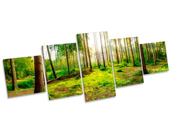 Forest Green Sunset Trees Framed CANVAS PRINT Five Panel Wall Art