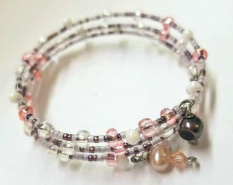 Pink Kisses - Boho Pink, Silver & Purple Tones Memory Wire Seed Bead Bracelet with Freshwater Pearls - Pretty for Everyday