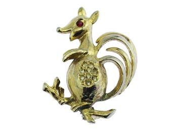 Gold Squirrel Brooch, Rhinestone Squirrel Brooch, Retro Gold Squirrel Pin