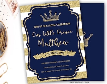 royal prince birthday invitation, blue and gold birthday invitation, boy birthday invite, crown birthday invitation, 1st birthday, any age
