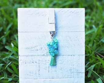 Green Tassel Beaded Key Fob