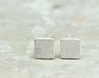 Stud Earrings Square 925 silver, square studs, in desired size