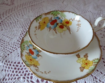 SALE ITEM Handpainted Bell China Teacup and Saucer 1940's
