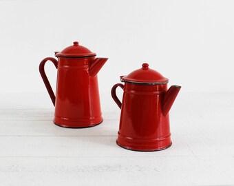 Français de cafetières, pichet Vintage métal émaillé, métal émaillé rouge Pot, émail émail Ware Pot de café, émail Français, émail théière Vintage