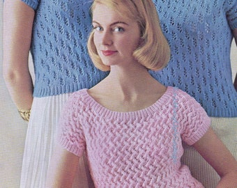 Knitting Pattern PDF 3 Womens Summer Tops  Short Sleeved Jumpers and Cardigan 34 - 40  Double Knit