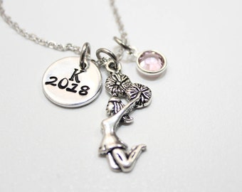 cheer necklace, personalized cheer necklace, cheerleader gift, cheer name necklace, cheer name jewelry, personalized cheerleader necklace