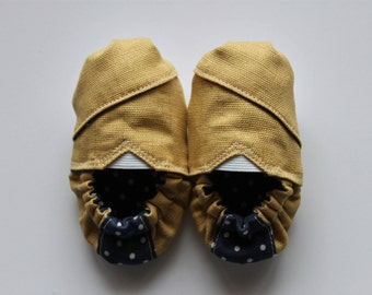 Mustard and Navy Baby Shoes