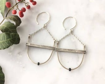 Silver Bar and Black Bead Earrings