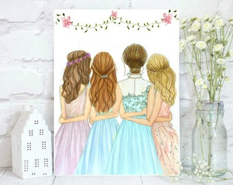 Little Women. Can be customized Watercolor sisters, friends or Mother with daughters.