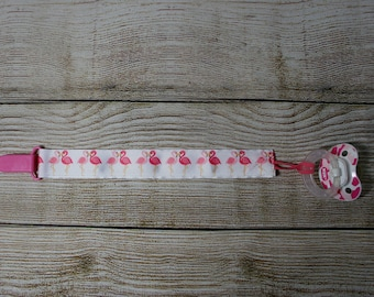 Pacifier Clip, Paci Clip, Binky Clip, Teether Clip - Pink Flamingos