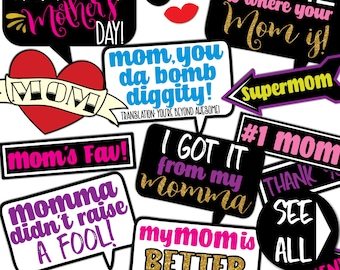 Mother's Day Photo Booth Props - 26 Printable Party Props - Happy Mother's Day, Thank You Mom, Love You Mom, Momma - INSTANT PDF DOWNLOAD